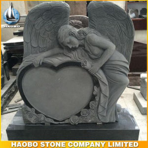 Hand Carved Black Granite Angel with Sculpted Roses pictures & photos