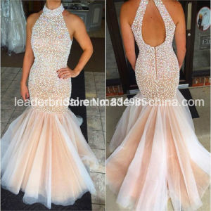 , Mermaid Evening Dress Tulle Beads Puffy Black Prom Dresses E20172 pictures & photos