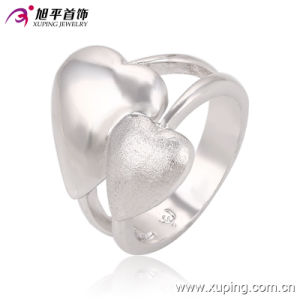 Latest Design Popular Women Simple Silver Jewelry Rings with Double Heart design- 13564 pictures & photos
