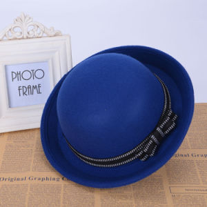 Women Fashion Bowtie Blue Wool Knitted Winter Bucket Hat (YKY3236) pictures & photos