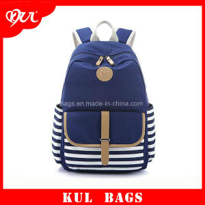 (KL040) High Quality Canvas School Backpack Fashion Stripe Bag for Girls