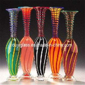 Multicolour Blown Glass Craft Vase for Hotel Decoration