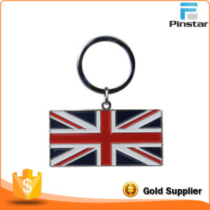2D Metal Union Jack Flag Plastic Keychain pictures & photos