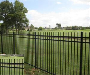 3rails Powder Coating Flat Top Steel Fence/Wrought Iron Fence/Fencing pictures & photos
