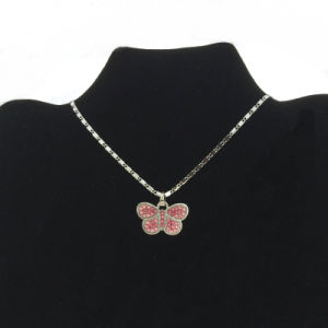 Pink Stone Butterfly Pendant Necklace Wholesale (FN16040802)