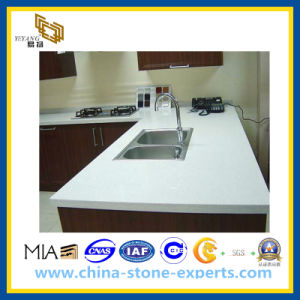 Crystal White Artifical Stone Quartz Countertop for Kitchen (YQG-CV1005) pictures & photos