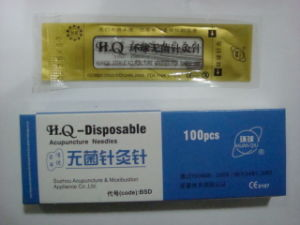 0.25X30mm Huan Qiu Brand Acupuncture Hand Needle in PE Bag pictures & photos