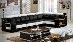 Black China Leather Sofa for Living Room Furniture (3215B) pictures & photos