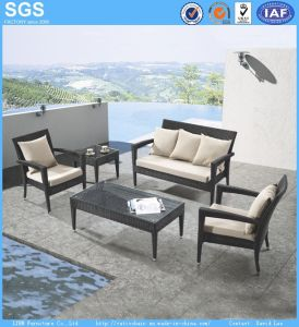 Outdoor Leisure Furniture Black Poly Rattan Sofa Set Armchair pictures & photos
