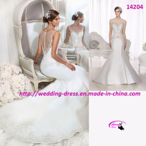 New Trumpet Wedding Dress with High Illusion Neckline pictures & photos