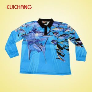 Wholesale Polyester Heat Transfer Printing Custom Design Fishing Shirts &Tournament Fishing Jerseys (DYF-071) pictures & photos