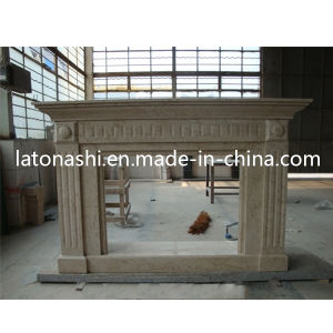 Creamy Stone Limestone Fireplace Mantel with Antique & Europe & New Style pictures & photos