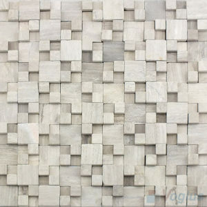 Tumbled Breakfront Wooden Grey Stone Wall Tile Mosaic