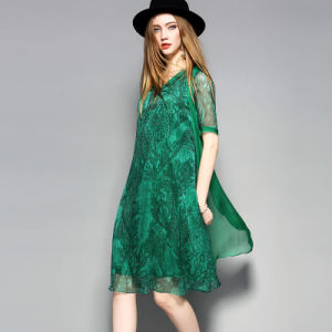 Green Knee Length Loose Women Dress with Floral Printed pictures & photos