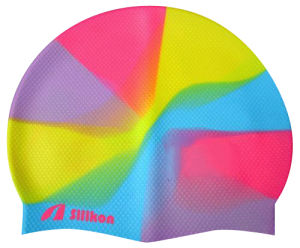 New Colorful Logo Printed Women Bubble Silicone Swimming Cap pictures & photos