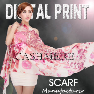 Digital Print Cashmere Scarf with France Style (m073) pictures & photos