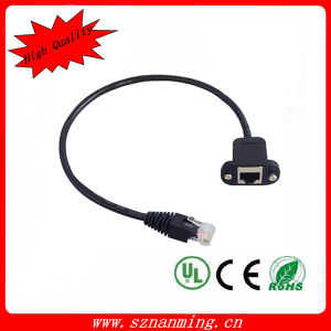 35cm RJ45 Male to Female Screw Panel Mount LAN Network Extension Cable pictures & photos