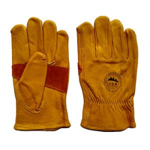 Cow Grain Leather Cut Resistant Proctective Working Gloves for Riggers pictures & photos
