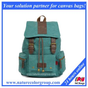 Unisex Vintage Drawstring Leather Canvas School Bag Backpack (SBB-039/SBB-021) pictures & photos
