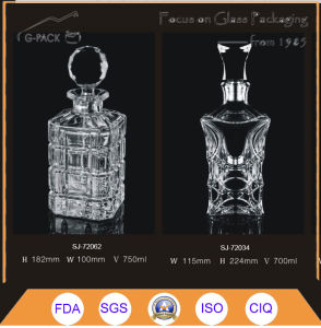 Carved and Polished Glass Liqueurs Bottle pictures & photos