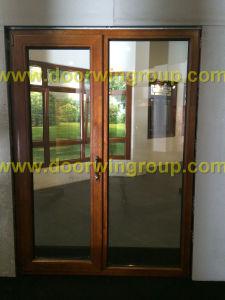 Timber Aluminum Patio Door, Double/Triple Glazing Tempered Glass Door, High  Quality Wood Aluminum Hinged Door