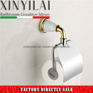Gold White Paint Chrome Toilet Paper Holder with Brass Cover pictures & photos