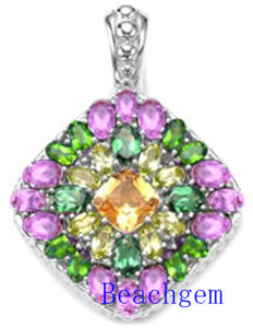 Jewellery-Color Glass Sterling Silver Pendant (P908901) pictures & photos