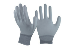 Nylon-Carbon Knitted Liner Coated White PU on Finger Palm ESD Gloves, Top Fit Gloves