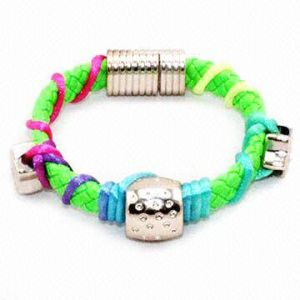 Fashion PU Bracelet with Magnetic Button pictures & photos