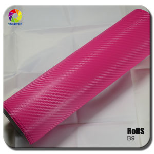 Tsautop Pink 3D Carbon Fiber Vinyl for Car Wrapping pictures & photos