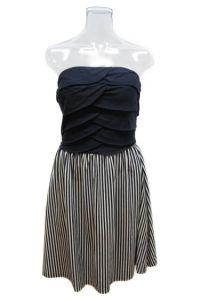 Lady Strapless Contrast White Stripe Cocktail Dresses (EF D8920)
