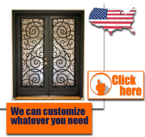 Wrought Iron Door Design Security Metal Steel Glass Exterior Gate Cheap pictures & photos