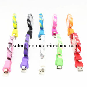 Textile Braided Flat USB Cable for iPhone 5s/5 pictures & photos