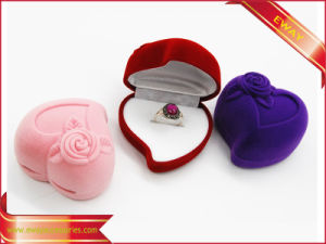 Heart Earring Box Velvet Earring Jewelry Packing Box pictures & photos