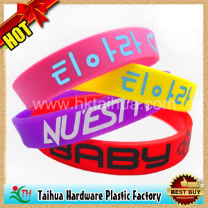 Custom Printed Color Silicone Bracelets with SGS Certification (TH-6967) pictures & photos