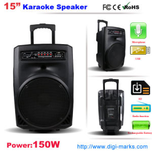 Battery Trolley Speaker with LED Light USB FM Radio DVD pictures & photos