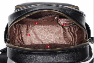Newest Litchi Grain Genuine Leather Leisure Fashion Black Lady′s Backpack pictures & photos