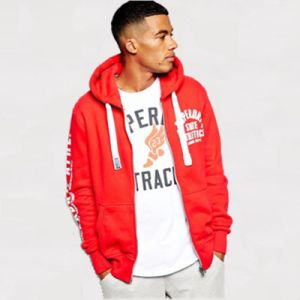 Fleece-Back Jersey Fabric Zip Hoodie with Trackster Print pictures & photos