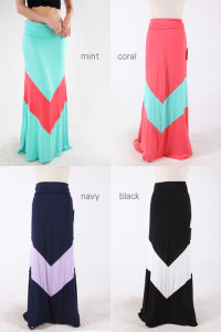 2013 Autunm Pastel Chevron V Maxi Skirts (Hsm4090)