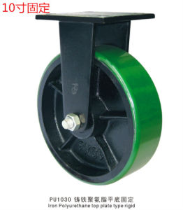 Super Heavy Duty Fixed Caster with Green PU Wheel Cast Iron Core