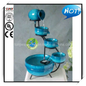 15.5 Inches Ceramic Finish Blue Resin Indoor Table Fountain