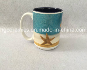 15oz Two Tone Ceramic Mug with Glitter Logo Printing, Shining Logo Printing Mug pictures & photos
