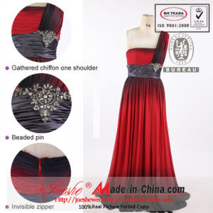 2013 Jueshe One Shoulder Mix Color Chiffon Evening Dress (k-007)