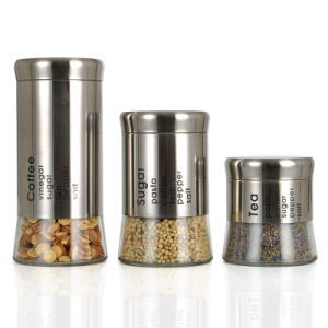 Stainless Steel Sleeves of Glass Jar of Fine Kitchenware 3sets pictures & photos