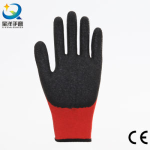 13G Polyester Liner Latex 3/4 Coated Work Glove, Wave Finish pictures & photos