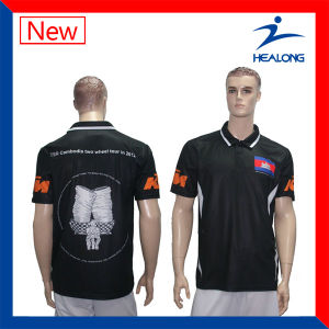Healong Quilted and Embroidery Men Polo Shirt pictures & photos