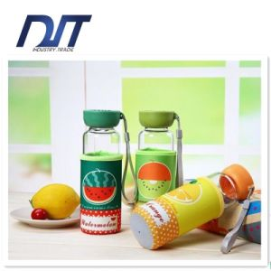 Colorful Fruits Glass Water Bottle with Nylon Protective Bag pictures & photos