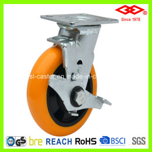 125mm Swivel Plate Locking PU Caster Wheel (P740-36FB125X40Z) pictures & photos