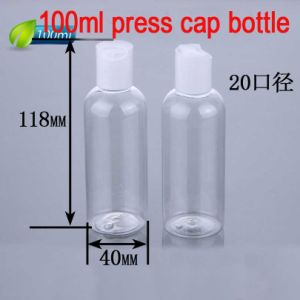 100ml Round Press Cap Plastic Lotion Bottle, Disc Top Cap Bottle for Cosmetic pictures & photos