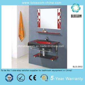 Colorful Bathroom Accessory Lacquer Glass Washing Basin with Mirror (BLS-2052) pictures & photos